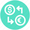 dollar, dollar and euro, euro, money convert, money exchange icon