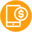 cell, coin, dollar, mobile, mobile banking, phone, smartphone icon