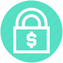 business, dollar, economic, lock, lock and security, safety, security icon