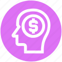 business, cash, dollar, head, idea, investment, money icon