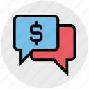 chat, chat bubble, dollar, message, sale offer, sign, sms