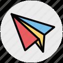 airplane, paper, paper plane, plan, send, sheet icon