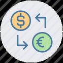 dollar, dollar and euro, euro, money convert, money exchange icon