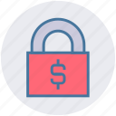 dollar, economic, lock, lock and security, safety, security icon