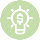 bulb, creative, dollar, idea, light, light bulb, money icon