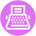 copywriter, creative writer, machine, paper, typewriter, writer icon