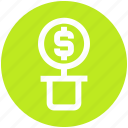 business, dollar sign, dollars flower, flower, money plant, nature icon