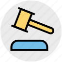 auction, gavel, hammer, judge, justice, law icon