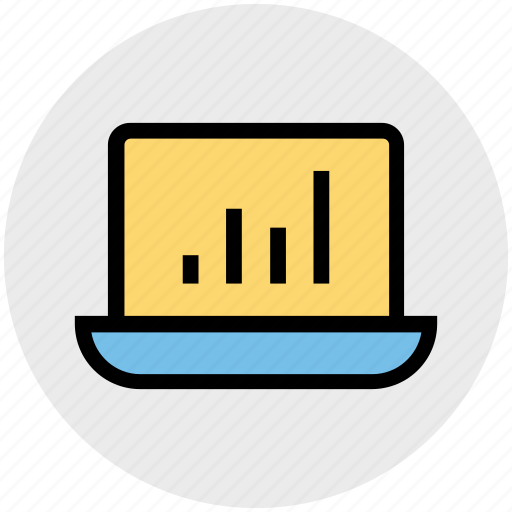 analytics, business, chart, graphic, info, laptop, notebook icon