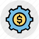 business, cog, dollar, gear, money, online, system icon