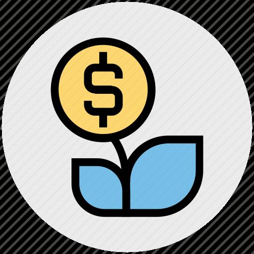 business, dollar sign, dollars flower, flower, money plant, nature icon