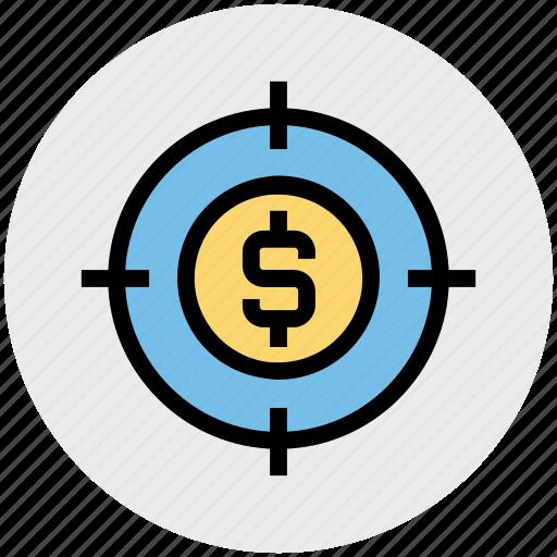 business, coin, dollar, goal, marketing, target, targeting icon