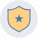 badge, premium, protection, rating, shield, star, votes