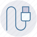 cable, charger, computer cable, connection, data, energy, usb icon