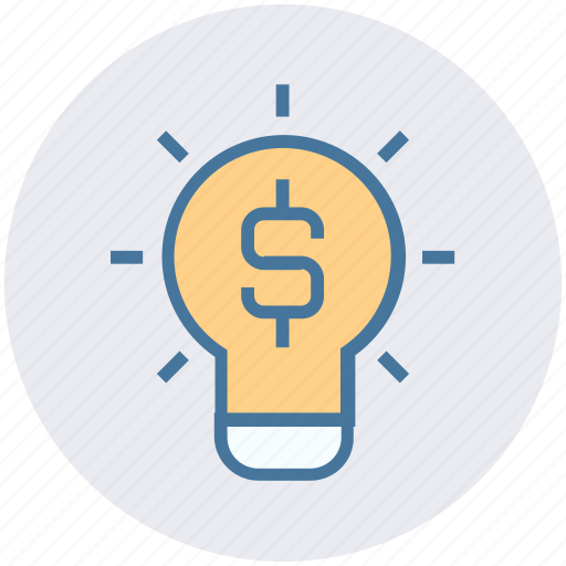 bulb, creative, dollar, idea, light, light bulb, money icon