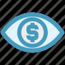 business, businessman eye, coin, dollar, dollar sign, money, view