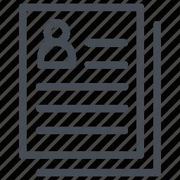 biodata, cv, job application, job profile, resume icon
