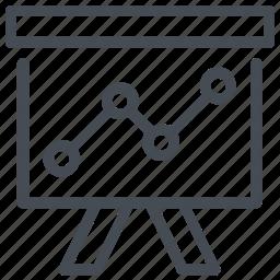 business graph, graph presentation, growth chart, presentation, whiteboard icon