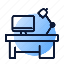 desk, lamp, mac, workspace icon