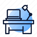 desk, lamp, laptop, workspace icon