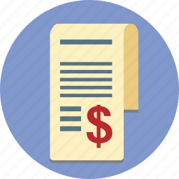 bill, business, payment, receipt, stub icon