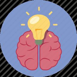 brain, bulb, business, concept, idea, light, lightbulb icon