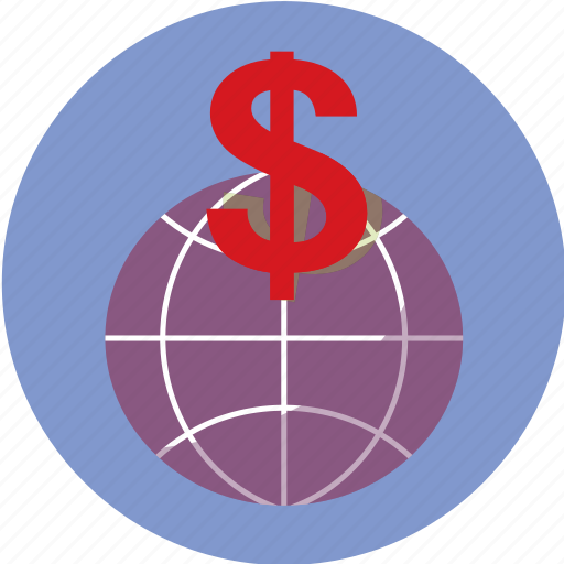 business, finance, globe, money, trading icon