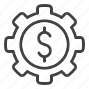 business, dollar, finance, gear, invest, money icon