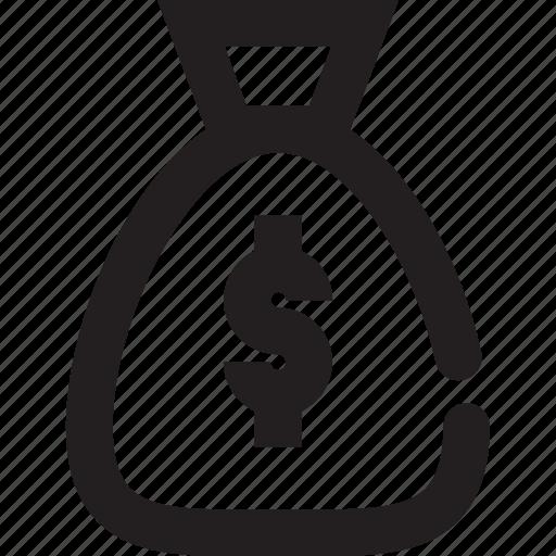 Bag, outline, dollar bag icon