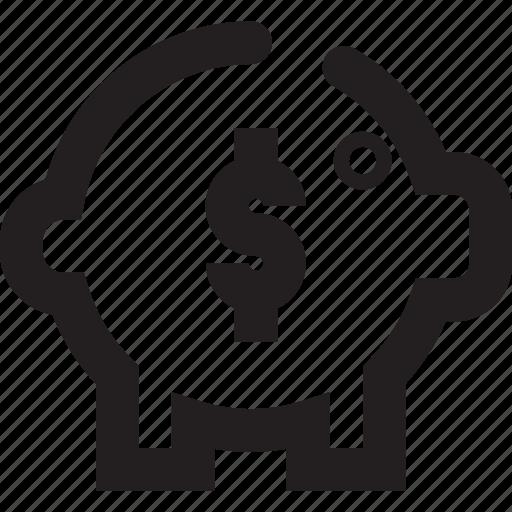 bank, outline, piggy bank, safety icon