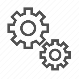 gears, outline, process, settings, system icon