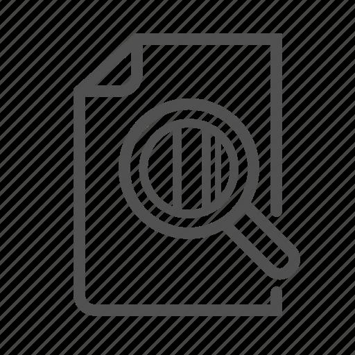 analyze, file, magnify, observe, outline, study icon