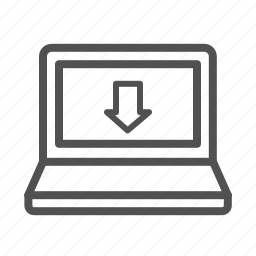 download, laptop, outline, screen icon