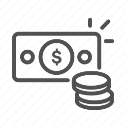 bill, coin, money, outline, sale, sales, spend icon