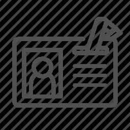 employee, id, identification, identity, member, membership, outline icon