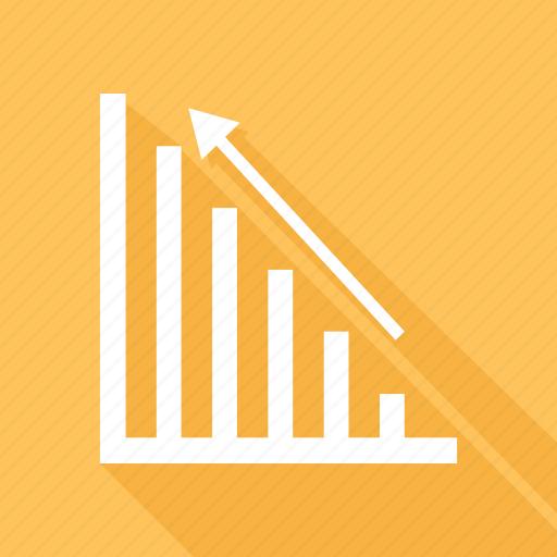 analytics, arrow, bar, chart icon