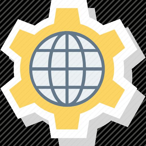 browser, cog, globe, internet, setting, wheel, world icon icon