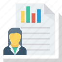 analysis, contact, list, report, user, user chart icon