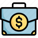 briefcase, business, dollar, management, suitcase icon