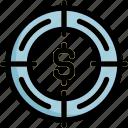 dollar, focus, goal, success, target