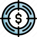 dollar, focus, goal, success, target icon