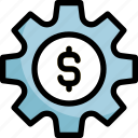 dollar, gear, options, preferences, settings icon