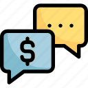 bubble, chat, communication, dollar, text icon