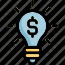 bulb, creativity, dollar, idea, light
