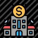 bank, company, corperation, enterprise, finance, money, organization icon