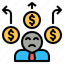 currency, dept, finance, liability, loss, money, pay icon