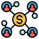 business, connection, finance, marketing, money, network, share icon