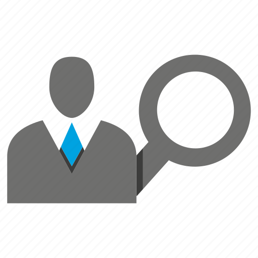 avatar, business man, magnifier, office, person, profile, search icon