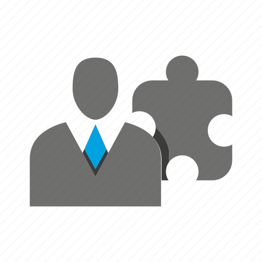 avatar, business man, office, person, profile, puzzle icon