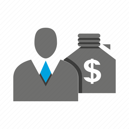 avatar, business man, money, office, person, profile, sack icon